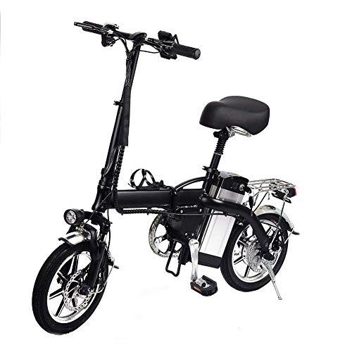 RZBB Elektro-Faltrad E-Bike E-Bike Commuter Für Erwachsene Frauen Männer, Mit Abnehmbarer New Third Generation Lithium-Batterie, Höchstgeschwindigkeit 40-50Km / H, 48V / 10Ah, Angreifen 3-5H, Schwarz -