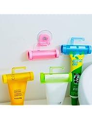 Bluelover Exprimidor de pasta de dientes dispensador tubo socio titular del balanceo de lechon - amarillo