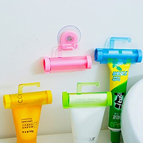 Bluelover Rolling Squeezer Toothpaste Dispenser Tube Partner Holder Sucker -White