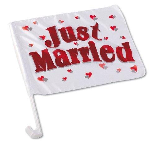 10 Autofahnen Autoflaggen Flagge / Fahne HOCHZEIT Fahne JUST MARRIED Hochzeitsfahnen