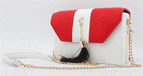 Good Night Di cuoio di modo splicing colori delle donne borsa della busta Borsa a tracolla Rosso