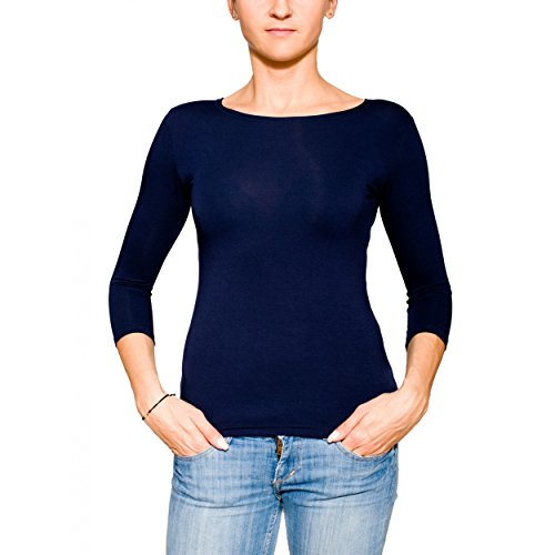 Alkato Damen Shirt 3/4 Arm Rundhalssusschnitt Stretch, Farbe: Dunkelblau, Größe: L