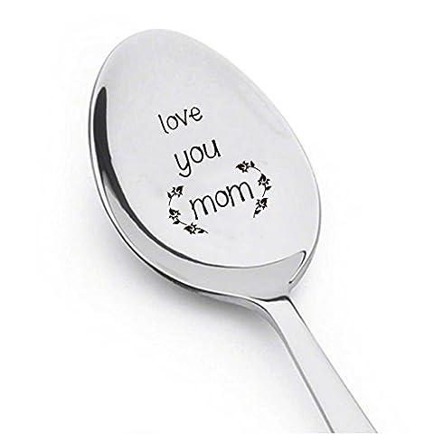 Love You Mom–Cuillère à café cadeau de Mom–Couverts Cuillère–Tendance Thème Stitch mignon Cuillère–gravé Cuillère–Cuillère Cadeau par Boston Creative Company