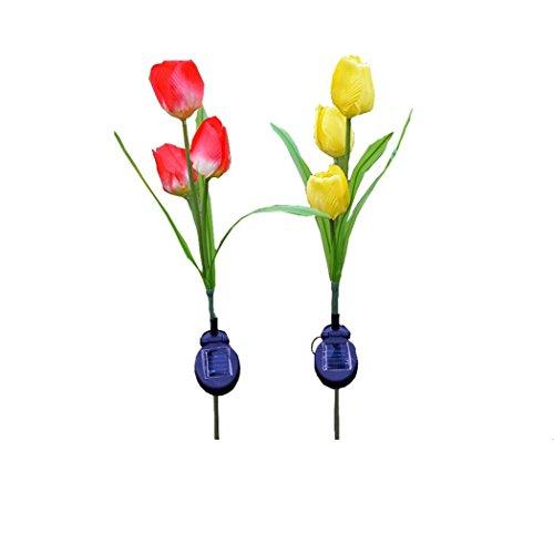 JIANGFU 3 Kappe Solar Laterne LED dekorative Outdoor Rasen Lampe 3 Blume Tulpe Lampe Verfeinerung (Gelegentliche Anlieferung)