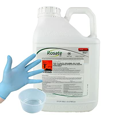 5Ltrs ROSATE 36 CONCENTRATE (+ FREE 120ml GALLIPOT & GLOVES) - dilutes to make 165 Ltrs - VERY STRONG GLYPHOSATE WEED KILLER - KILLS THE WEEDS AND ROOTS