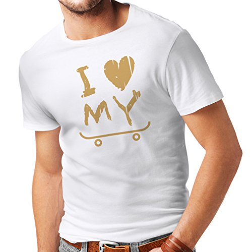 lepni.me T-Shirt pour Hommes Je Aime Patinage T-Shirt (Small Blanc Or)