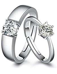 Moneekar Jewels 925 Sterling Silver Plated Couple Promise Rings Combo For Women & Men