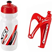 Raceone.it - KIT Race Duo X3 Matt (2 PCS): Porta Bidon X3 + Bidon de ciclismo XR1 Bici Carrera de Ruta / Bicicleta de Montaña MTB / Gravel Bike. Color: Rojo / Blanco 100% MADE IN ITALY