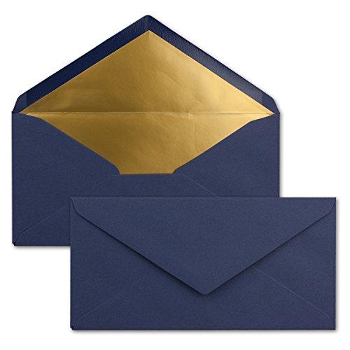 25 Brief-Umschläge DIN Lang - Dunkel-Blau/Nachtblau mit Gold-Metallic Innen-Futter - 110 x 220 mm - Nassklebung - Festliche Kuverts für Weihnachten