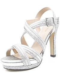 1a7f798868f Amazon.es  zapatos de fiesta color plata - Sandalias de vestir ...