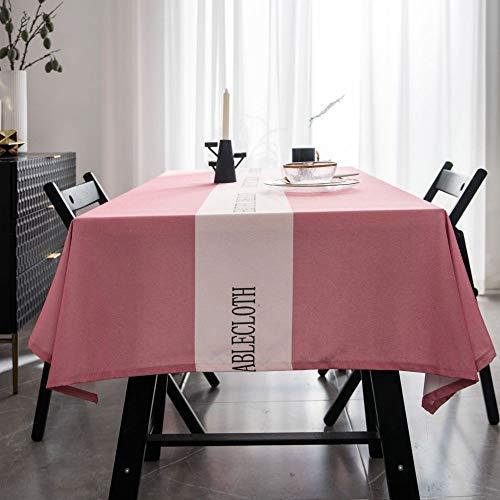 XTUK Tischdecke, Weihnachtsdekoration, wasserdichte Tischdecke, einfache Moderne rechteckige Tischdecke, einfarbig, Teetischdecke, Rose, 100 * 135