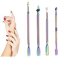 Kit de Empujador de cutículas - Herramientas de Manicura de 4 Piezas Profesional Alicates Uñas Levantadores de Cutícula Limas para Uñas Acero Inoxidable (color arcoíris)