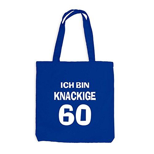 Jutebeutel - Ich bin knackige 60 - Geburtstag Birthday Sechzig Royalblau
