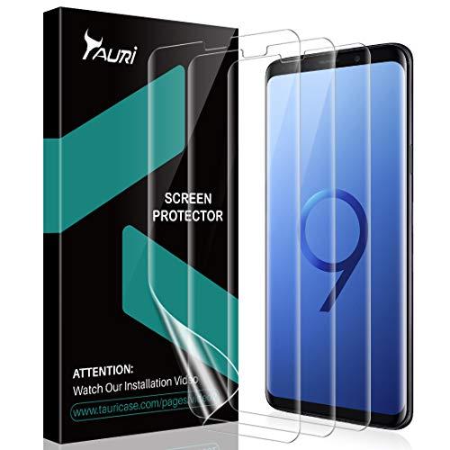 TAURI [3 Pezzi Pellicola Protettiva per Samsung Galaxy S9,[Compatibile con la Custodia][Senza Bolle][Garanzia di Sostituzione a Vita] HD Trasparente Morbido TPU Schermo Protettivo