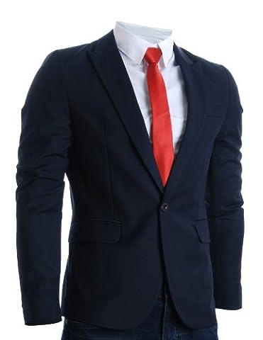 FLATSEVEN Mens Designer Slim Fit Stylish Peaked Lapel Blazers (BJ301) Navy, Boys 2XL