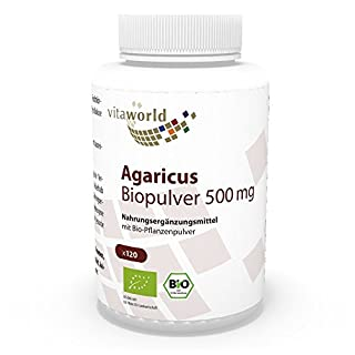 Vita World Agaricus Pulver Bio Qualität 500mg 120 Kapseln Apotheken Herstellung ABM