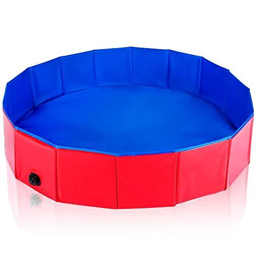 Pet Mania Faltbares Hundepool, Planschbecken Mittel 120X30cm - Robustes, Hochwertiges PVC mit Verstärkten Oxford-Wänden - Haustier Schwimmbecken, Badewanne, Welpen Katzen Kinderpool Doggy Pool -