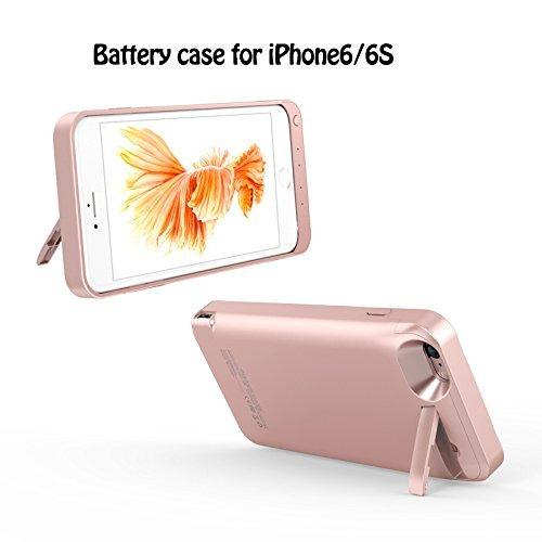 iPhone 6S Coque Batterie,KINGCOO Portable 5800mAh Batterie Externe Rechargeable d'Alimentation Power Bank Portable Backup Chargeur Batterie Antichoc Étui Housse de Protection avec béquille pour iPhone rose gold