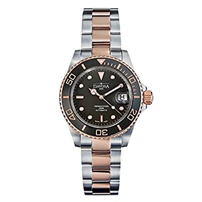 Davosa Automatic Ternos Ceramic 2 Tone Black Rose Gold Divers Wrist Watch