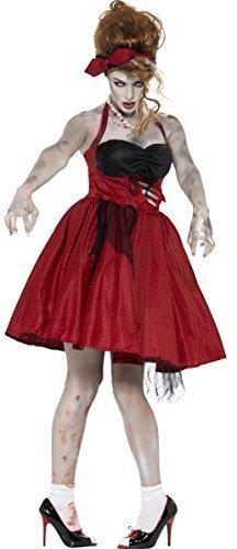 Damen-zombie 1950er Jahre 50er Jahre Rockabilly Halloween Retro Kostüm Kleid Outfit - 36-38 (50er Jahre Halloween Kostüme)