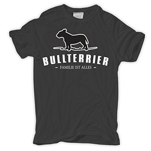 Männer und Herren T-Shirt Bullterrier - Familie ist alles Aschgrau