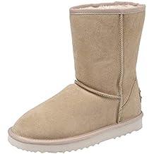 c51baed9 Shenduo Zapatos Invierno Clásicos - Botas de Piel Planas para Mujer  Forradas DA5825