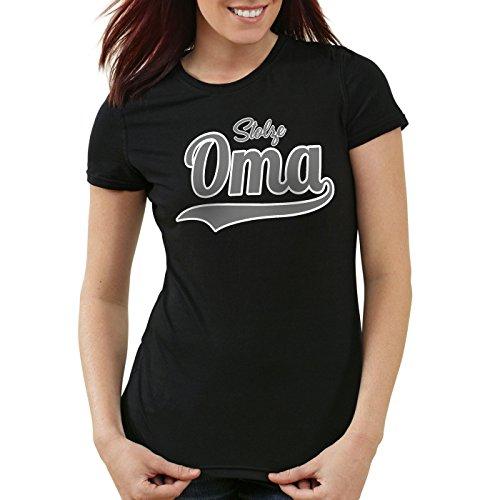 style3 Stolze Oma Damen T-Shirt Großmutter Fun Funshirt Spruch Spruchshirt, Farbe:Schwarz;Größe:XL