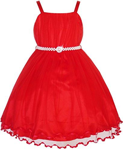 (Sunboree Mädchen Kleid Blume Perle Gürtel Festzug Hochzeit Gr. 158)