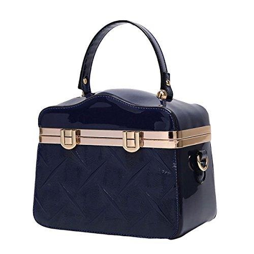 Damen Handtasche Geprägte Umhängetasche Liu Nagel Verschluss Tasche Blue