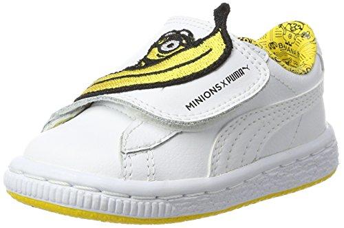 Puma Unisex-Kinder Minions Basket Wrap Leather Inf Sneaker, Weiß (White-White-Minion Yellow), 21 EU (Kinder Jungen Die Großen Puma Schuhe)