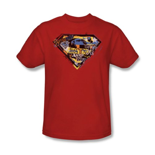 Superman - American Way Erwachsene T-Shirt in Rot, X-Large, Red -