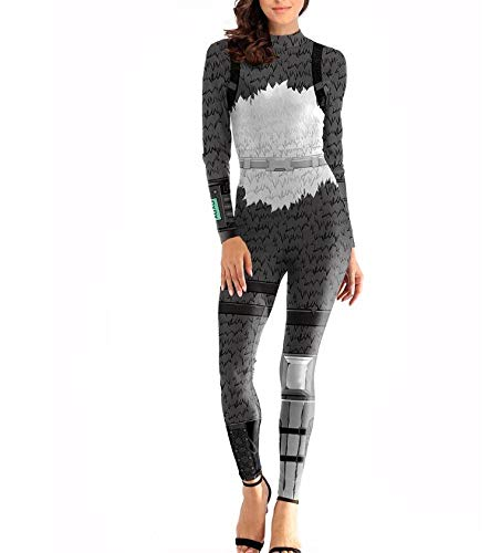 Erwachsene Jumpsuit 3D-Druck Bodysuit Kostüm Cosplay Partei-Anzug Mit Einem Hohen Stretch Props,Kostümball One Color-Adult/XL,Black-M ()