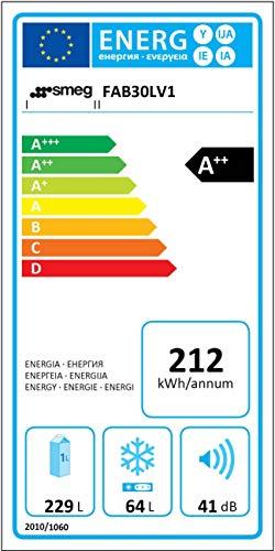 Smeg FAB30LV1  Kühlschrank / A++ / Kühlteil 231 L / Gefrierteil 64 L