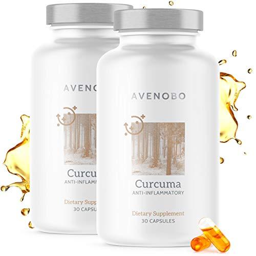 Premium Kurkuma (flüssig) mit Vitamin D3 von Avenobo - 185x höhere Bioverfügbarkeit als natives Curcumin - NovaSOL® Hochdosiert Flüssiges Curcuma Kapseln Hochdosiert - 60 (2x30) Kapseln