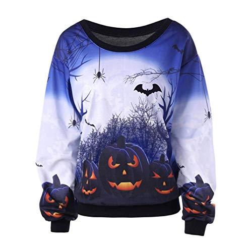 URSING Damen Bluse Frauen Halloween Drucken Langarm-Sweatshirt Pullover -