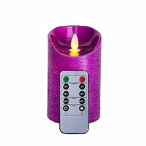 Violet Bougies non parfumées sans flamme à LED alimenté par batterie 12,7cm Bougies avec télécommande