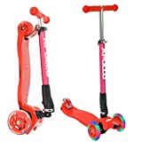 Apollo Fun-Scooter - Kids Whiz LED - für Kinder ab 3 Jahren, faltbarer Kickboard-Scooter, Roller bis 60kg belastbar mit höhenverstellbarer eloxierter Lenkstange und blinkenden LED Räder, Farbe wählbar