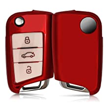 kwmobile Car Key Cover Compatible with VW Golf 7 MK7 3 Button Car Key - TPU Silicone Key Fob Cover with Varnished Buttons - Red High Gloss/White