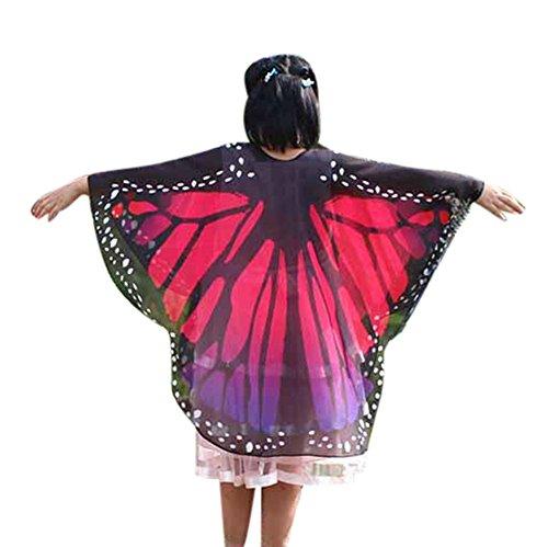 bestshope Damen Schmetterling Drucken Kostüm Schals, Daily Karneval -