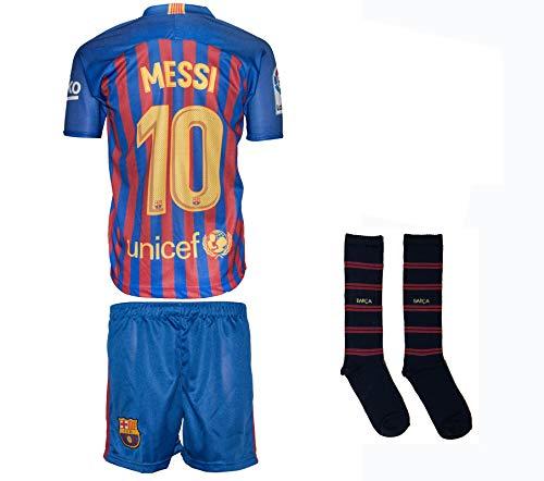 Barcelona Messi #10 2018/19 Heim Trikot und Shorts mit Socken Kinder und Jugend Größe