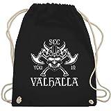 Piraten & Totenkopf - See you in Valhalla - Unisize - Schwarz - WM110 - Turnbeutel & Gym Bag