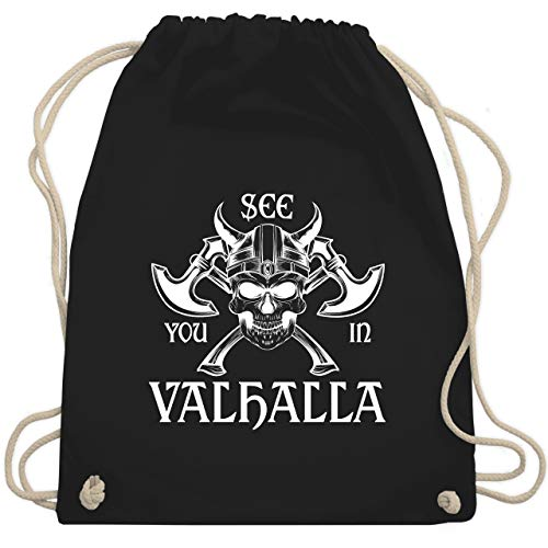 Piraten & Totenkopf - See you in Valhalla - Unisize - Schwarz - WM110 - Turnbeutel & Gym Bag