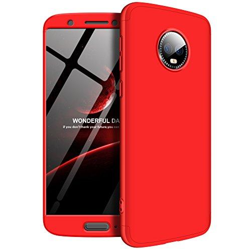 Motorola G6 Plus Hülle 3 in 1 HandyHülle Ultra Dünn Hartschale 360 Grad Schutz Stoßdämpfend Schutzhülle Anti-Fingerabdruck Handyhülle Glatte Hybrid Etui Bumper Hülle Cover (Chinesisches Rot) -