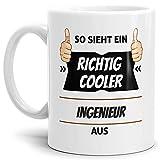 Tassendruck Berufe-Tasse so Sieht Ein Richtig Cooler Ingenieur aus Weiss/Job / mit Spruch/Kollegen / Arbeit/Geschenk-Idee/Büro