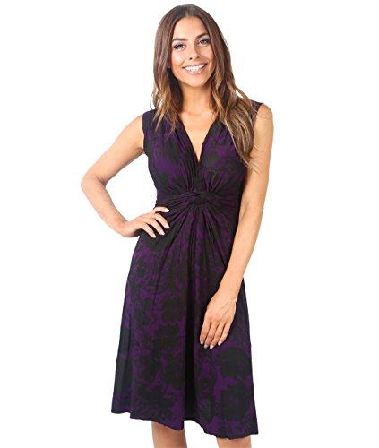 KRISP 6309-PUR-10 Damen Kleid Geknotet Blumenmuster (Violett, Gr.38) (Stoff Blumenmuster Kleid)