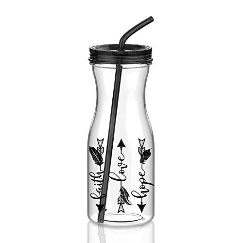 Artoid Mode 1000ml Trinkbecher, Kunststoffbecher Smoothie-Becher Coffee to go Becher mit Strohhalm, BPA frei
