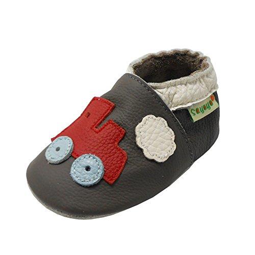 Sayoyo Entrainer Premiers pas Chaussures Pour Bébé cuir Fille Garçon(18-24 mois,noir) Gris