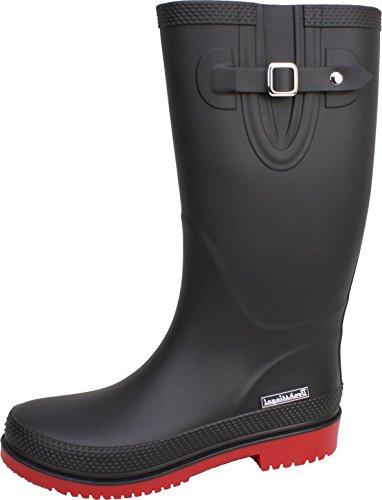 BOCKSTIEGEL® JETTE - Standard/K/KB Stivali di gomma corto per la Donna   Fibbia laterale alla moda   Logo del marchio   Produzione europea   Confortevole black / red