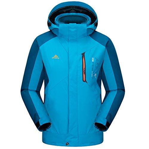 URBANFIND Herren Lockere Wear Abnehmbare Fleece Jacke Winter Mit Kapuze Windbreaker Mäntel Sky Blau