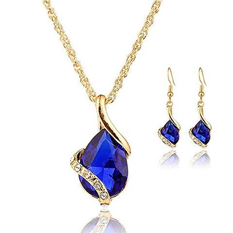 Mode Collier Femme, Reaso Goutte Pendentif Collier Boucles d'oreilles Set (Bleu foncé)